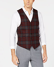 Lauren Ralph Lauren Men's Classic-Fit Burgundy/Gray Wool Tartan Plaid Vest