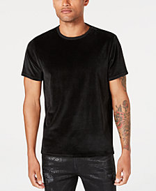 GUESS Men's Velour Zip-Detail T-Shirt