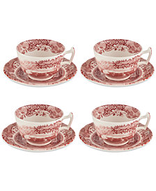 Spode Cranberry Italian Teacup & Saucer, Set of 4