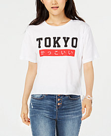 Rebellious One Juniors' Tokyo Crop Graphic T-Shirt