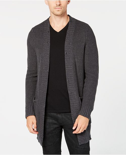 INC International Concepts I.N.C. Men's Classic-Fit Distressed Hem Open-Front Cardigan, Created for Macy's