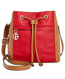 Giani Bernini Vertical Colorblock Drawstring Bucket Bag, Created for Macy's