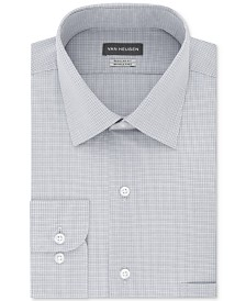 Van Heusen Men's Classic/Regular Fit Wrinkle Free Solid Micro-Check Dress Shirt