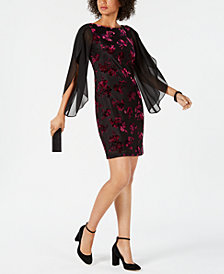 Donna Ricco Floral Velvet Sheath Dress