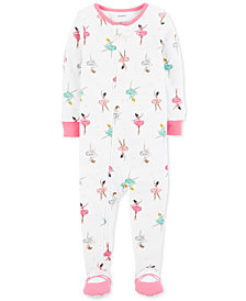 Carter's Baby Girls Ballerina-Print Cotton Footed Pajamas