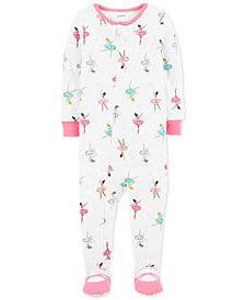Carter's Baby Girls Ballerina-Print Cotton Footed Pajamas