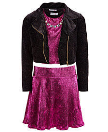 Beautees Big Girls 3-Pc. Moto Jacket, Top & Skirt Set
