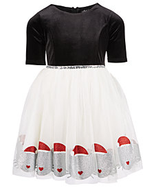Pink & Violet Little Girls Elbow-Sleeve Santa Cat Dress