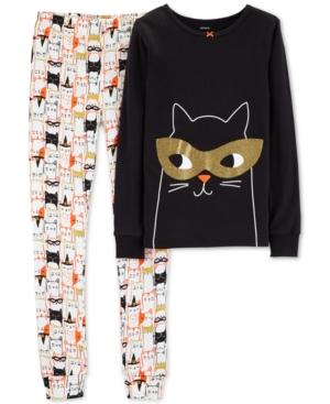 Carters Little  Big Girls 2Pc Hallo Black Cat Graphic Pajamas Set