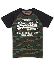 Superdry Men's Shirt Shop Camouflage Logo Graphic Raglan-Sleeve T-Shirt