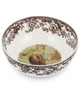 Woodland Moose Round Salad Bowl