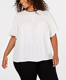 Lucky Brand Trendy Plus Size Lace-Trim Top