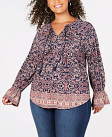 Lucky Brand Trendy Plus Size Printed Peasant Top