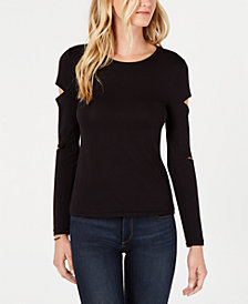 Bar III Cutout-Sleeve Top, Created for Macy's