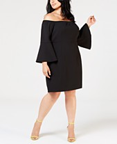 3846e0c4793a Betsey Johnson Plus Size Off the Shoulder Bell-Sleeve Sheath Dress