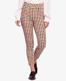 Free People Ella Kick Skinny Plaid Pants