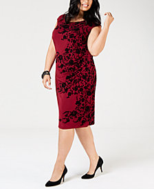 Jessica Howard Plus Size Velvet-Flocked Dress