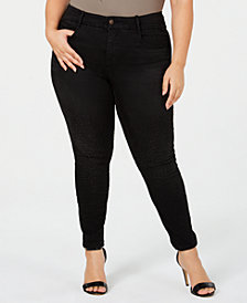 YSJ Plus Size Embellished Skinny Ankle Jeans, Created for Macy's