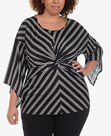 NY Collection Plus Size Striped Twist-Front Top