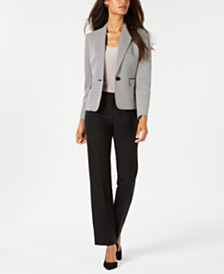 Le Suit One-Button Textured Jacket Pantsuit