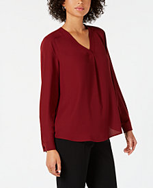 Nine West V-Neck Woven Blouse