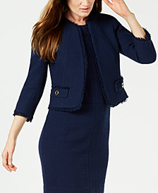 Anne Klein Fringe-Trim Tweed Jacket, Created for Macy's