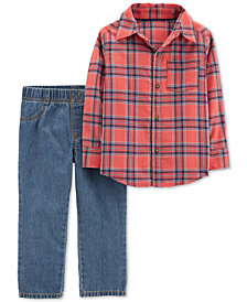 Carter's Toddler Boys 2-Pc. Plaid Flannel Cotton Shirt & Pull-On Jeans Set