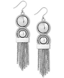Lucky Brand Silver-Tone Bead & Chain Fringe Statement Earrings