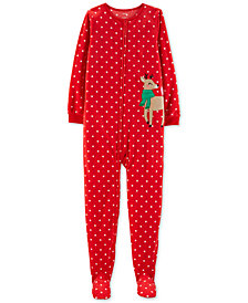 Carter's Little & Big Girls Footed Reindeer Fleece Pajamas