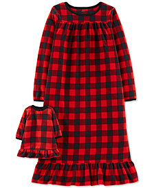 Carter's Little & Big Girls Plaid Fleece Nightgown & Doll Nightgown