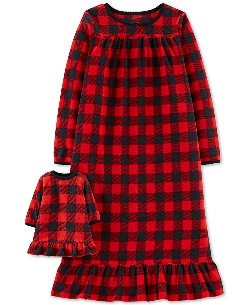 cf5dc64651a2 Carter s Little   Big Girls Plaid Fleece Nightgown   Doll Nightgown ...