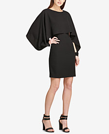 DKNY Chiffon-Cape Sheath Dress, Created for Macy's