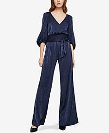 BCBGMAXAZRIA Puff Shoulder Wrap Jumpsuit