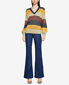 BCBGMAXAZRIA Striped Metallic Mohair Sweater