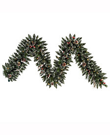 9' Snow Tipped Pine and Berry Christmas Garland with 50 Clear Lights
