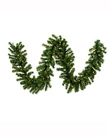9' Douglas Fir Artificial Christmas Garland with 50 Warm White LED Lights