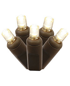 Vickerman 50 Warm White Wide Angle LED Light on Brown Wire, 25' Christmas Light Strand