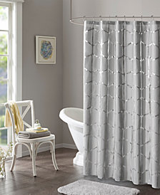 "Intelligent Design Raina 72"" x 72"" Printed Metallic Shower Curtain"