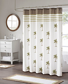 "Madison Park Palm 72"" x 72"" Cotton Printed Shower Curtain"