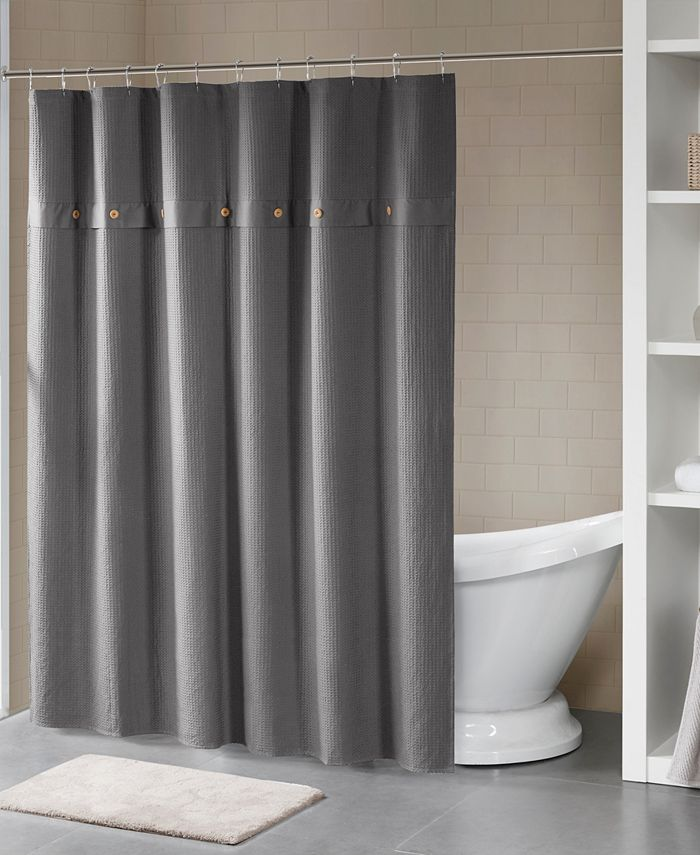 """Madison Park - Finley 72"""" x 72"""" Finley 100% Cotton Waffle Weave Textured Shower Curtain"""