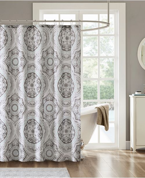 Madison Park June 72 X Cotton Printed Shower Curtain