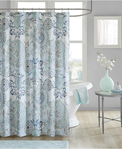 Madison Park Isla 72 X Cotton Printed Shower Curtain