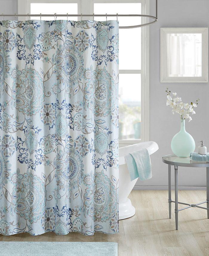 "Madison Park - Isla 72"" x 72"" Cotton Printed Shower Curtain"