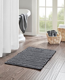 Madison Park Lasso Pieced Dyed Cotton Chenille Chain Stitch Bath Rugs