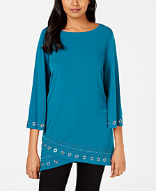 JM Collection Petite Layered-Hem Grommet-Trim Top, Created for Macy's