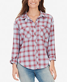 WILLIAM RAST CARINA-CARINA Adjustable-Sleeve Plaid Shirt