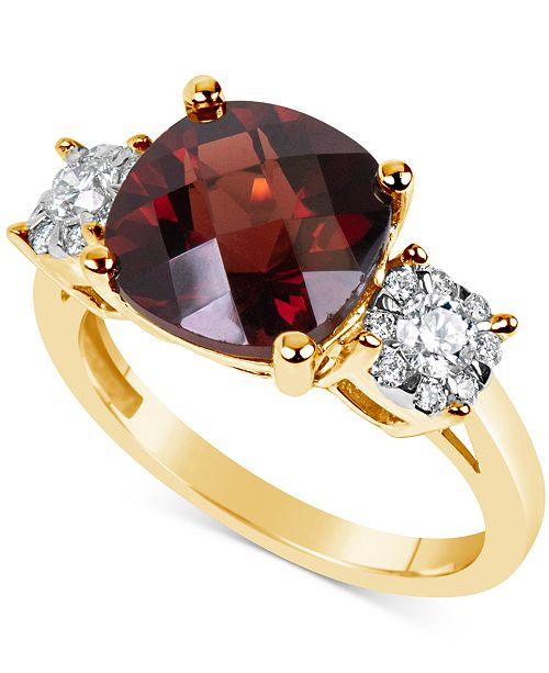 Macy's Rhodolite Garnet (5 ct. t.w.) & Diamond (1/3 ct. t.w.) Ring in 14k Gold