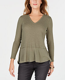 Style & Co Petite Mixed-Media Sweater, Created for Macy's