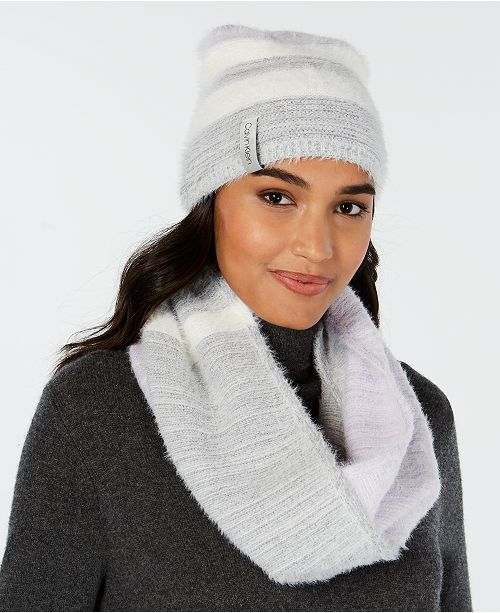 Calvin Klein 2-Pc. Colorblocked Fuzzy Scarf   Hat Set - Handbags ... e5adc9fd310