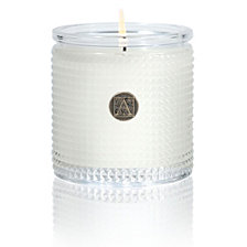 Aromatique White Teak Textured Glass Candle